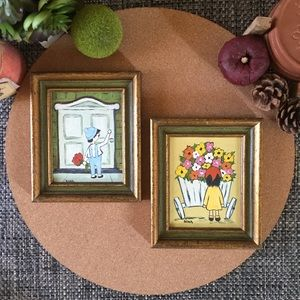 Sale! Vintage Hand Painted Framed Wall Art